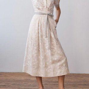 Rebecca Taylor Magic Garden Linen Eyelet Skirt